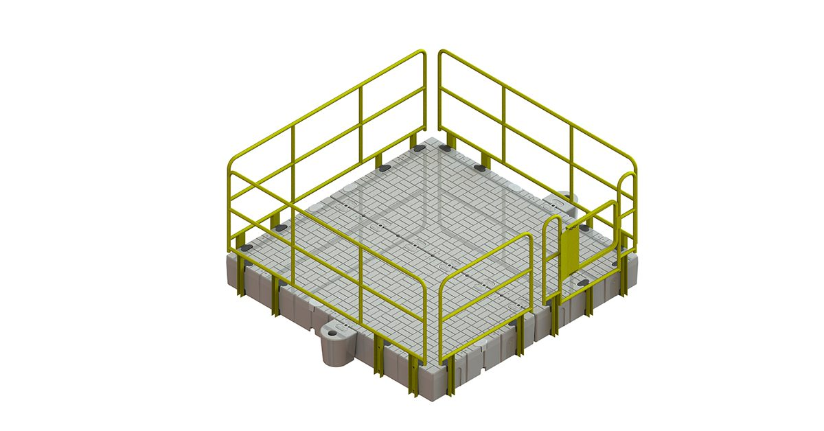 Rendering Of A Plastic Work Platform With Yellow Hand Rails.